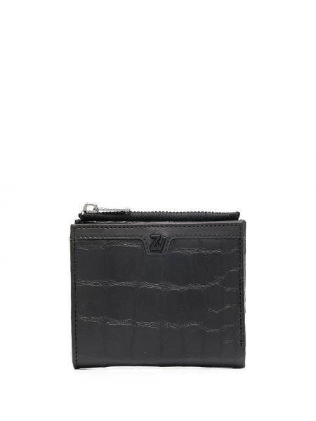 Черный кожаный кошелек из крокодила квадратный со шлицей Zadig&voltaire