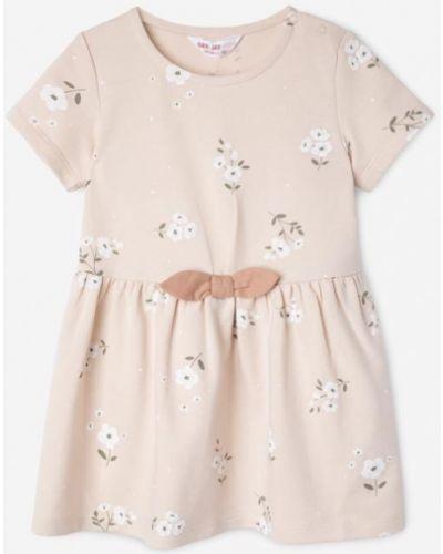 Платье мини в цветочный принт - бежевое Gloria Jeans