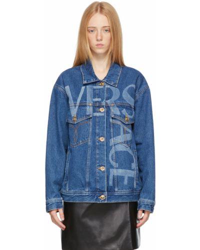 Синяя джинсовая джинсовая куртка Versace