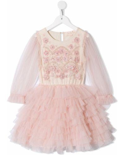 Расклешенное розовое платье с рукавами с вырезом круглое Tutu Du Monde