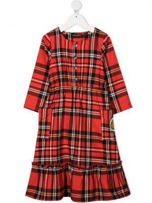 Sukienka mini rozkloszowana z długimi rękawami z haftem Mini Rodini