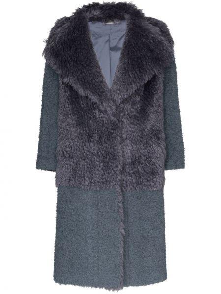 Серое пальто из мохера на пуговицах с лацканами Vika Gazinskaya