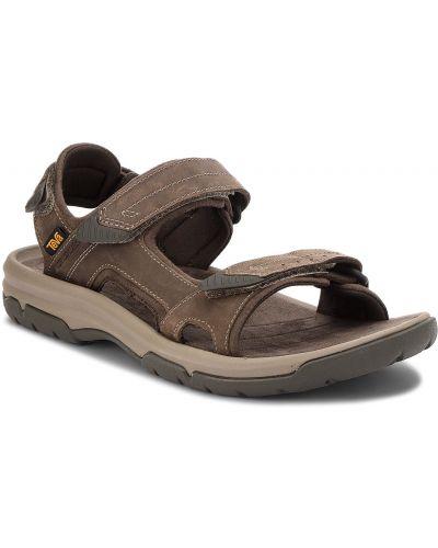 Wodoodporny brązowy skórzany skórzany sandały z wkładkami Teva