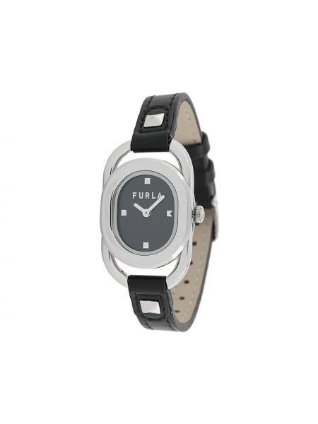 Czarny zegarek z prawdziwej skóry Furla