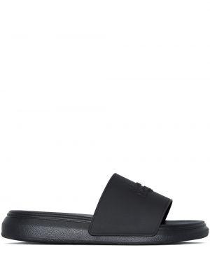 Sandały peep toe - czarne Alexander Mcqueen