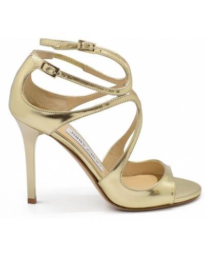 Złote sandały skórzane - żółte Jimmy Choo