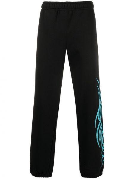 Czarne spodnie bawełniane z printem Misbhv
