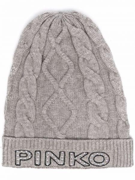 Czarna czapka z haftem Pinko