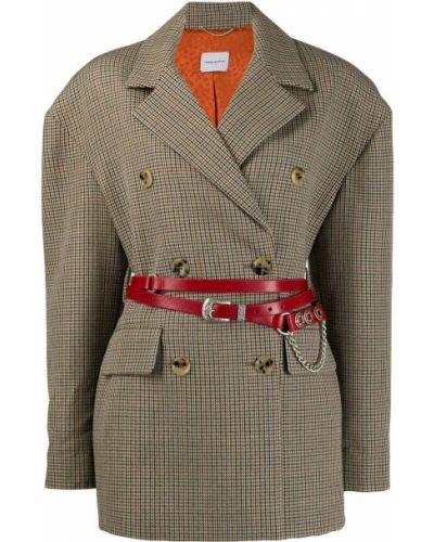 Шерстяное бежевое пальто классическое с поясом Magda Butrym