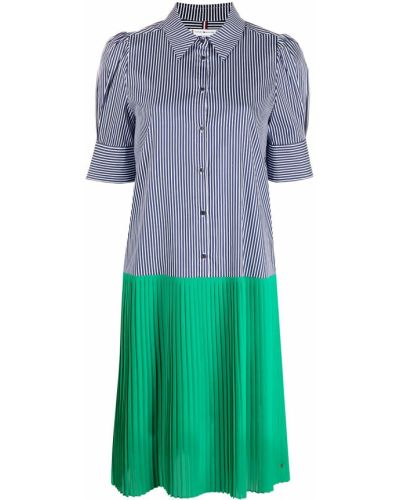Синее платье мини с короткими рукавами с воротником Tommy Hilfiger