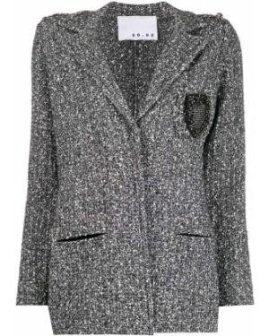 Черная куртка твидовая с манжетами 20:52