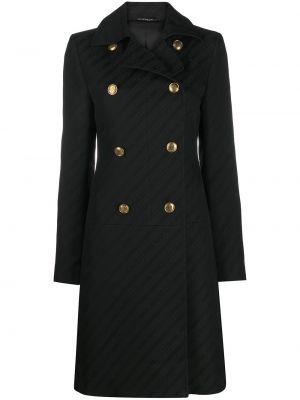 Черное длинное пальто двубортное с карманами Givenchy