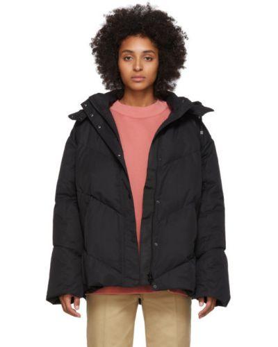 Ватная черная длинная куртка с капюшоном Won Hundred