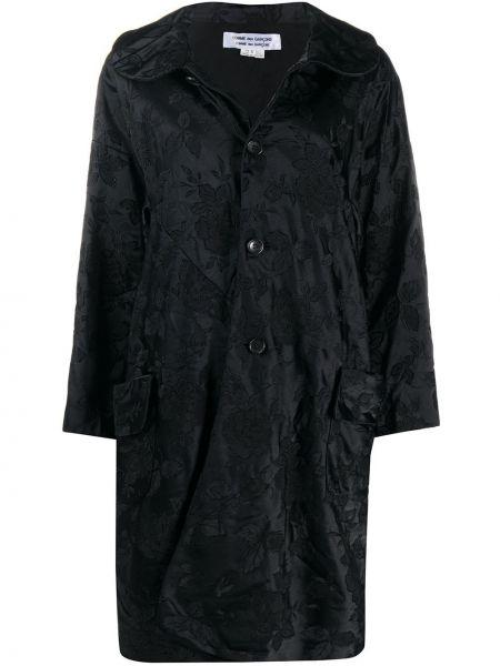 Черное пальто классическое с воротником с накладными карманами на пуговицах Comme Des Garçons Comme Des Garçons