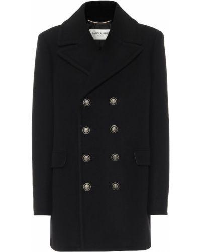 Шерстяное черное пальто двубортное Saint Laurent