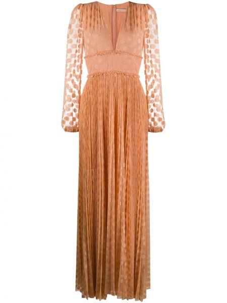 Платье с прозрачными рукавами с V-образным вырезом Maria Lucia Hohan