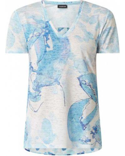 T-shirt z wiskozy z dekoltem w serek turkusowy Taifun