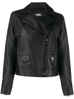 Черная кожаная куртка байкерская Karl Lagerfeld