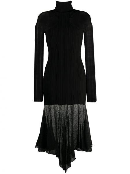 Черное асимметричное платье с длинными рукавами из вискозы Mugler