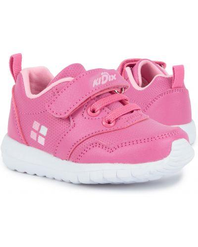 Брендовые розовые кожаные кроссовки Kidix