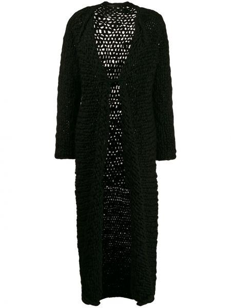 Шерстяное черное длинное пальто с капюшоном Yohji Yamamoto Pre-owned
