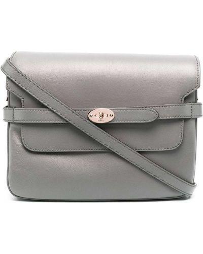 Серый кожаный сумка на плечо с карманами Mulberry