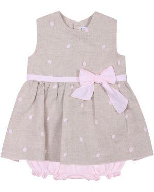 Повседневное платье розовое в горошек Latte E Baci