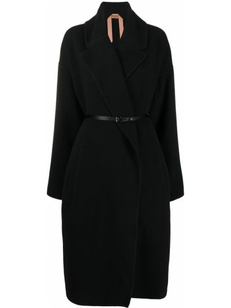 Шерстяное черное длинное пальто с поясом N°21