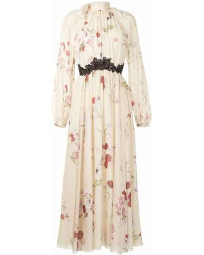 С рукавами шелковое платье макси в цветочный принт Giambattista Valli