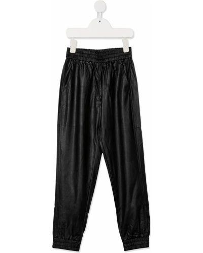 Кожаные черные брюки с поясом Monnalisa
