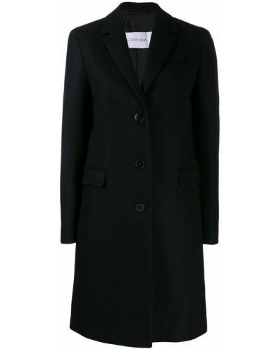 Однобортное шерстяное черное пальто классическое Calvin Klein