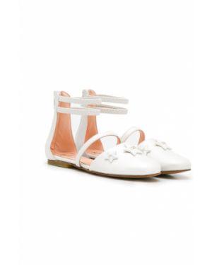 С ремешком кожаные белые сандалии с бантом Elisabetta Franchi La Mia Bambina