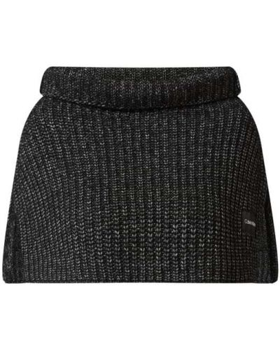 Prążkowany czarny ponczo wełniany Ck Calvin Klein