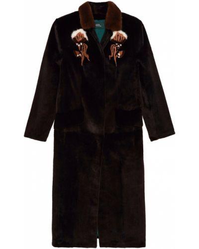 Длинное пальто норковое с цветочным принтом Alena Akhmadullina