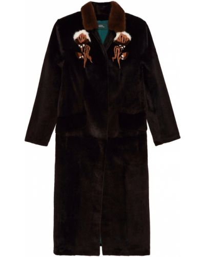 Пальто с мехом - черное Alena Akhmadullina