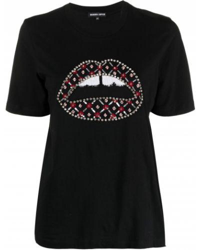 Прямая черная футболка с вырезом Markus Lupfer