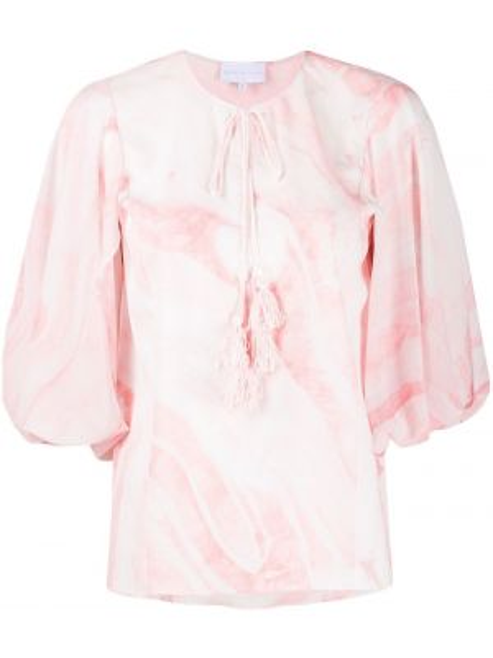 Розовый топ с оборками свободного кроя с круглым вырезом Noon By Noor