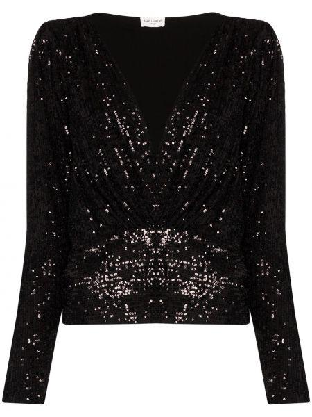 Bluzka z cekinami - czarna Saint Laurent