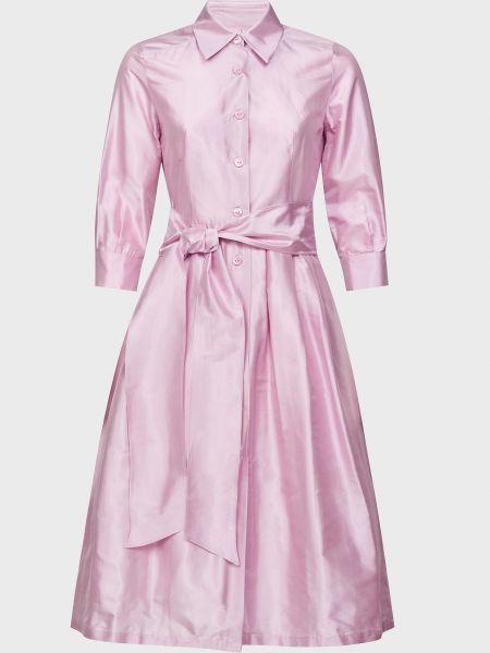 Фиолетовое шелковое платье с поясом Luisa Spagnoli