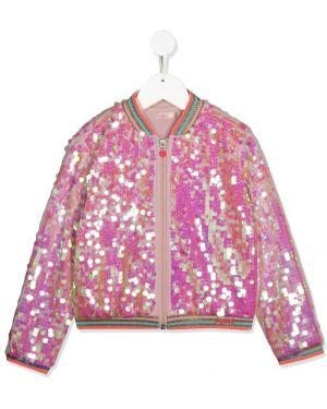 Różowa długa kurtka z haftem bawełniana Billieblush