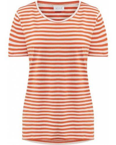 Pomarańczowy t-shirt w paski bawełniany Vila