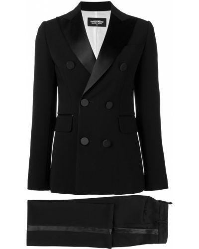 Czarny wyposażone spodni garnitur dwurzędowy z paskami Dsquared2