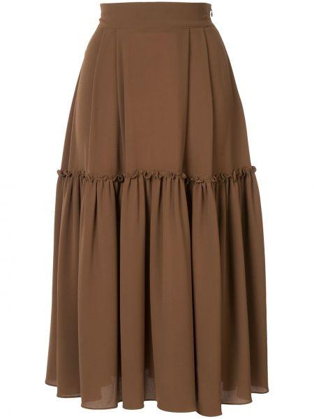 Коричневая расклешенная юбка миди в рубчик Edeline Lee