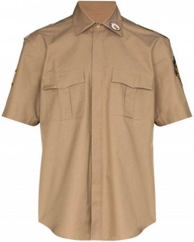 Коричневая классическая классическая рубашка с воротником с заплатками Phipps