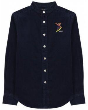 Облегающая синяя рубашка с вышивкой свободного кроя Ralph Lauren