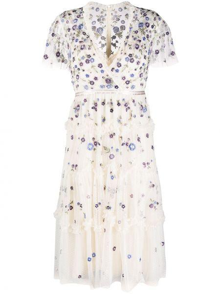Платье миди с вышивкой с цветочным принтом Needle & Thread