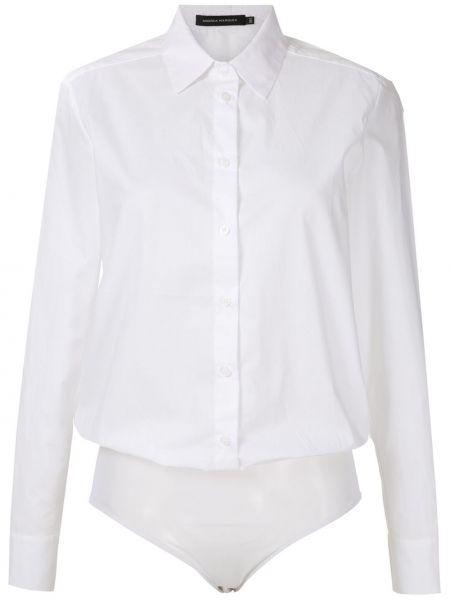 Хлопковая белая классическая рубашка с длинными рукавами Andrea Marques