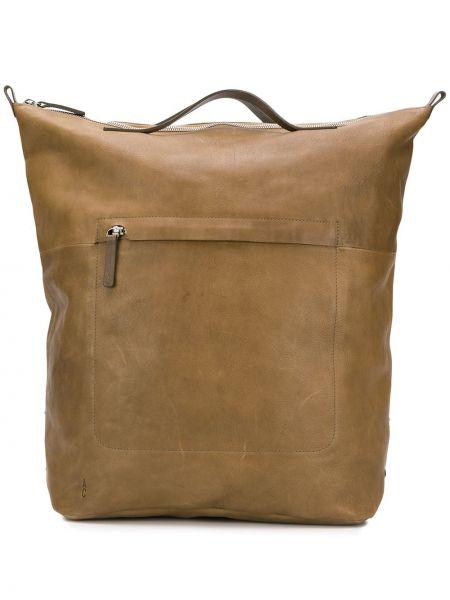 Зеленый кожаный рюкзак на бретелях с карманами Ally Capellino