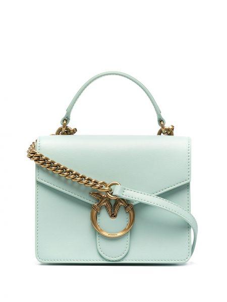 Зеленая кожаная сумка на плечо круглая Pinko