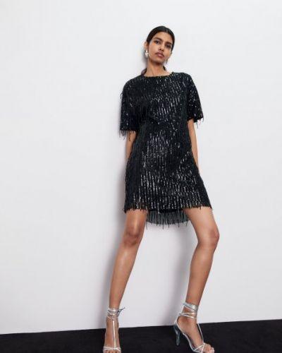 Платье с пайетками - черное Zara